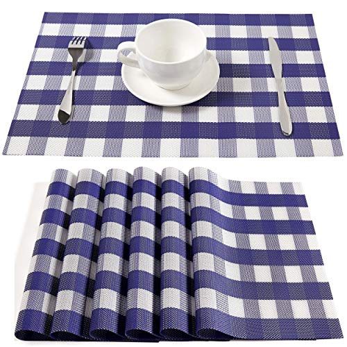 Buffalo Check Placemats, Table Mats,Placemat Set of 6 Non-Slip Washable Place Mats,Heat Resistant Kitchen Tablemats for Dining Table(Navy Blue and White)