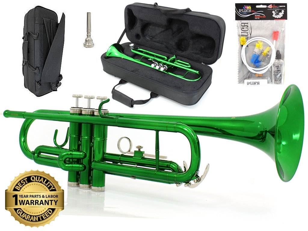 D'Luca 500GR 500 Series Standard Bb Trumpet with Professional Case, Cleaning Kit, Green by D'Luca