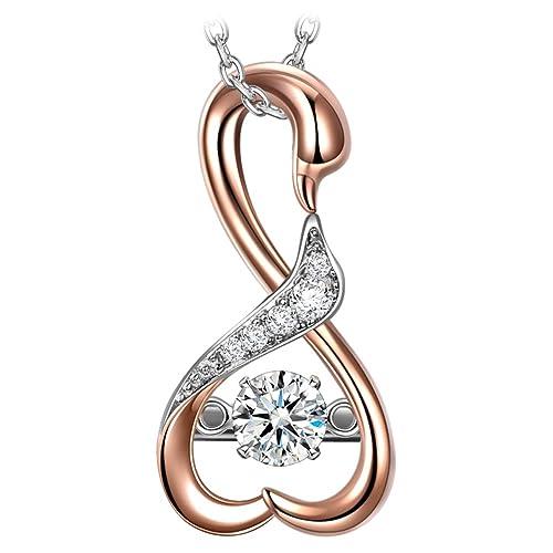 fdb410ef1a Dancing Heart Cigno Collana Donna 925 Sterline Argento 5A Zirconi Cubici  Ciondolo Placcato in Oro Gioielli