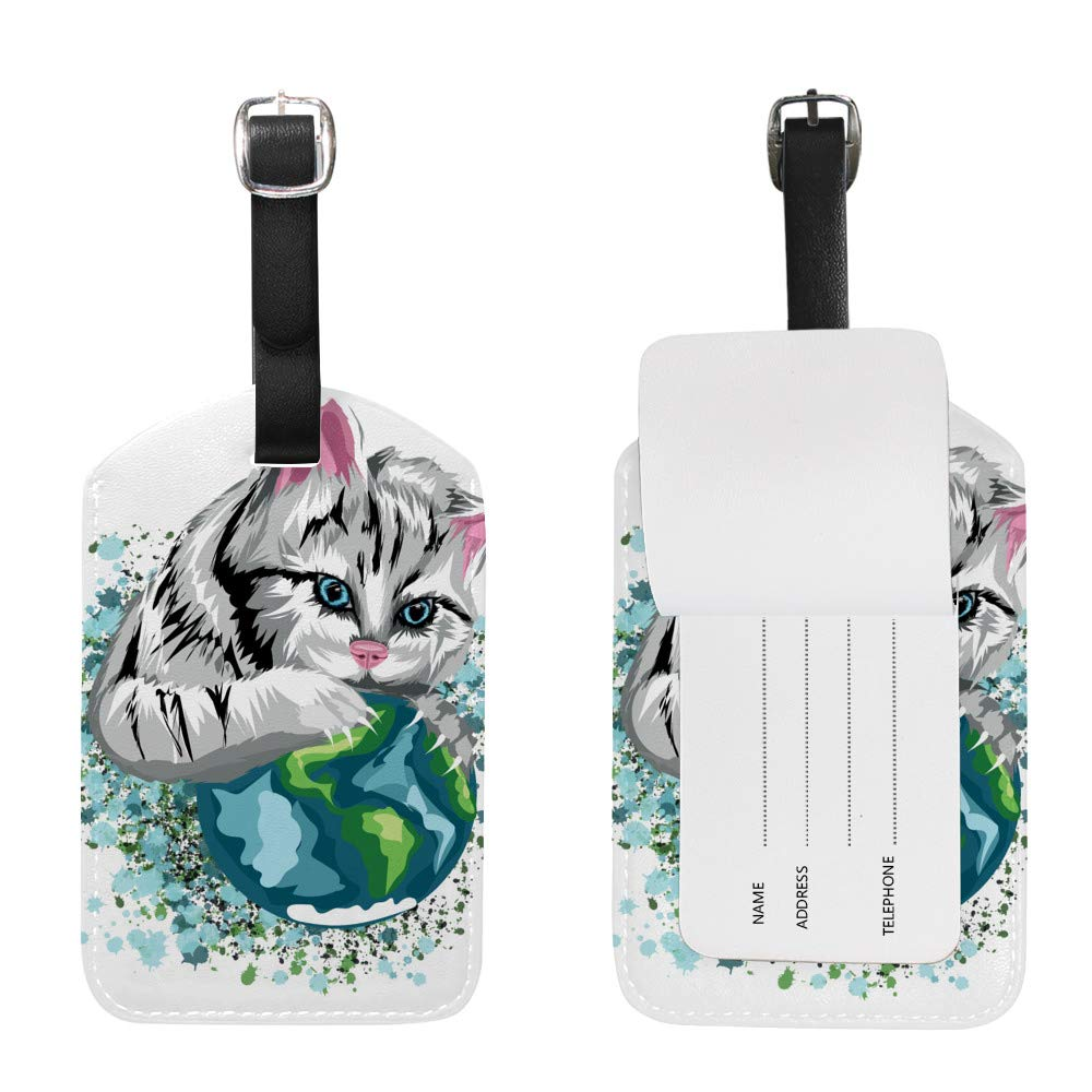 1pcs Luggage Tags PU Leather Tags Suitcase Labels Travel Bag With Privacy Cover Watercolor Butterfly Hot Air Balloon Creative Pattern Printing