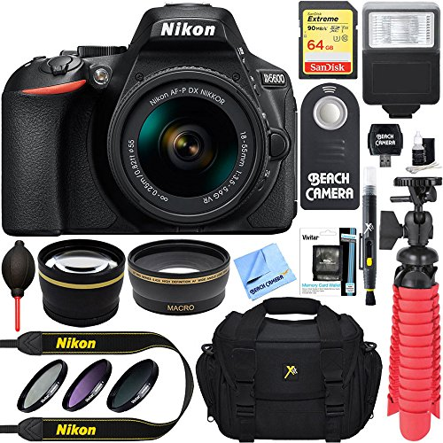 Nikon D5600 DSLR Camera + AF-S DX 18-55mm VR Lens Kit + Accessory Bundle 64GB SDXC Memory + SLR Photo Bag + Wide Angle Lens + 2x Telephoto Lens + Flash + Remote + Tripod + Filters (Black) by Beach Camera
