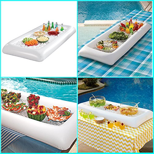 2 Pack Inflatable Buffet Salad Serving Bar Tray Ice Cooler