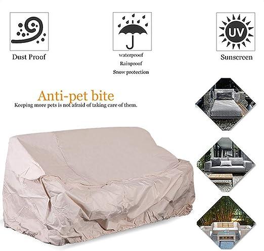HYCZW Fundas Muebles Jardín, Funda Protectora para Sofá Funda para Sofá De Exteriores PE Oxford Protección contra La Nieve Impermeable Rayos UV Resistente Al Polvo (289X183x76 CM), Beige: Amazon.es: Hogar