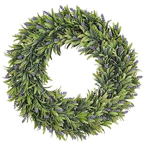 TINGOR Artificial Lavender Wreath, 17'' Green Leaves Boxwood Wreath Flowers Arrangements Front Door Wreath for DIY Wall Wedding Home Décor