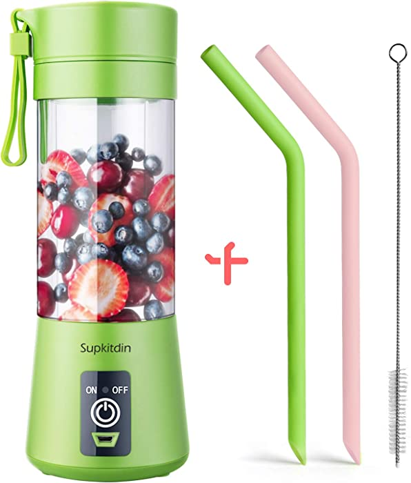 Supkitdin Portable Blender, Personal Mixer Fruit Rechargeable with USB, Mini Blender for Smoothie, Fruit Juice, Milk Shakes, 380ml, Six 3D Blades for Great Mixing (Green)