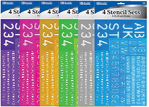 Bazic 8, 10, 20, 30mm Size Lettering Stencil Sets 144 pcs sku# 312375MA by Bazic