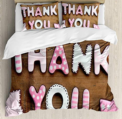 Ambesonne Thank You Duvet Cover Set King Size, Romantic Swee