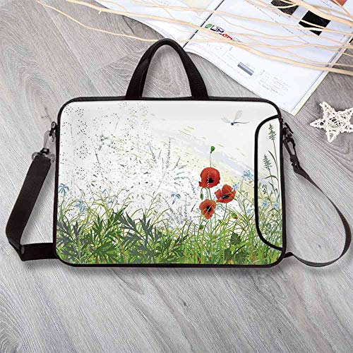 Dragonfly Lightweight Neoprene Laptop Bag,Illustration of Meadow Field A Single Fleur de lis on Distressed Grunge Background Laptop Bag for Laptop Tablet PC,8.7