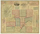 Shelby County Ohio 1865 - Wall Map with Homeowner Names - Farm Lines - Reprint