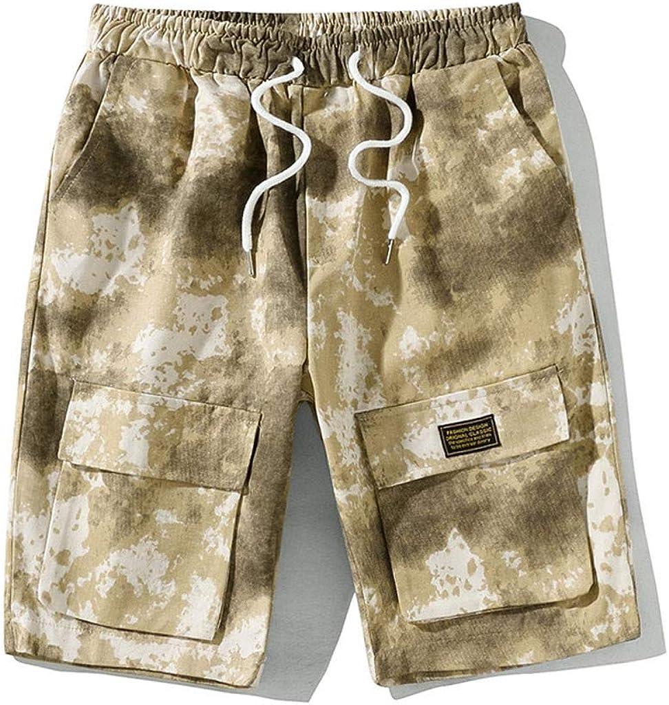 OTW Mens Elastic Waist Casual Active Multi-Pockets Solid Color Shorts Sweatpants