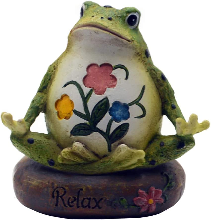 HoDrme Novelty Yoga Frog Figurine-Frog Sitting On Relax Stone Sculptures Office Outdoor Decor Garden Statue