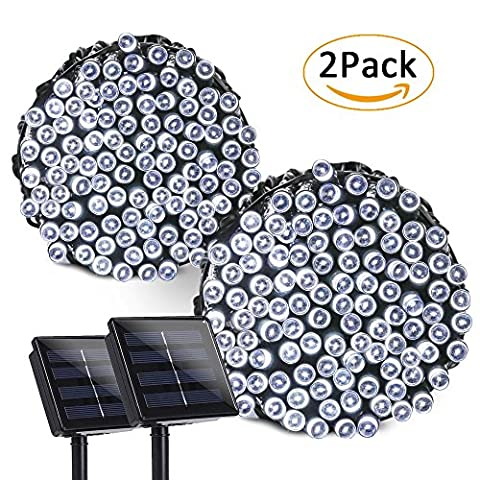 Qedertek 2 Pack Solar Christmas Lights, 72ft 200 LED Fairy Decorative String Lights with 8 Lighting Modes for Home, Lawn, Garden, Christmas, Wedding, Patio, Party and Holiday Decorations (Cool - Christmas Lawn Lights