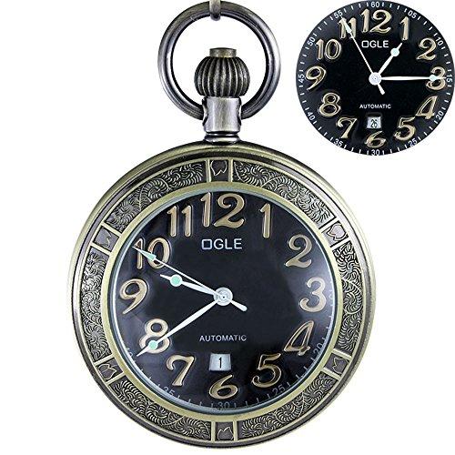 ze Magnifier Calendar Date Day Luminous Chain Fob Self Winding Automatic Skeleton Mechanical Pocket Watch (Bronze Black) (Black Date Pocket Watch)