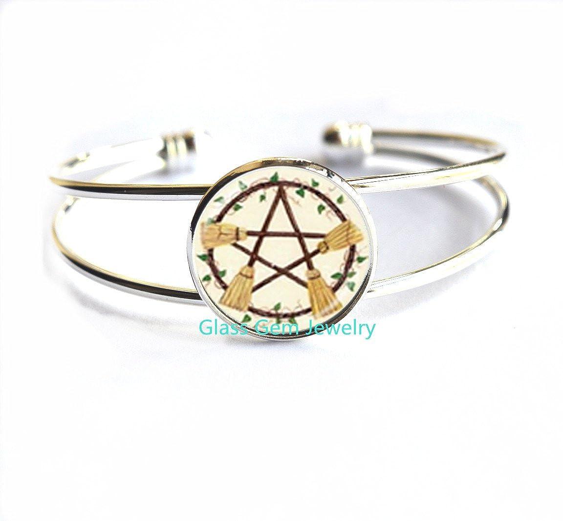 Wicca Broom Pentagram Bracelet Pentacle Bracelets Wiccan Witch Jewelry Glass Cabochon Silver Statement Long Chain Bracelet,Q0223