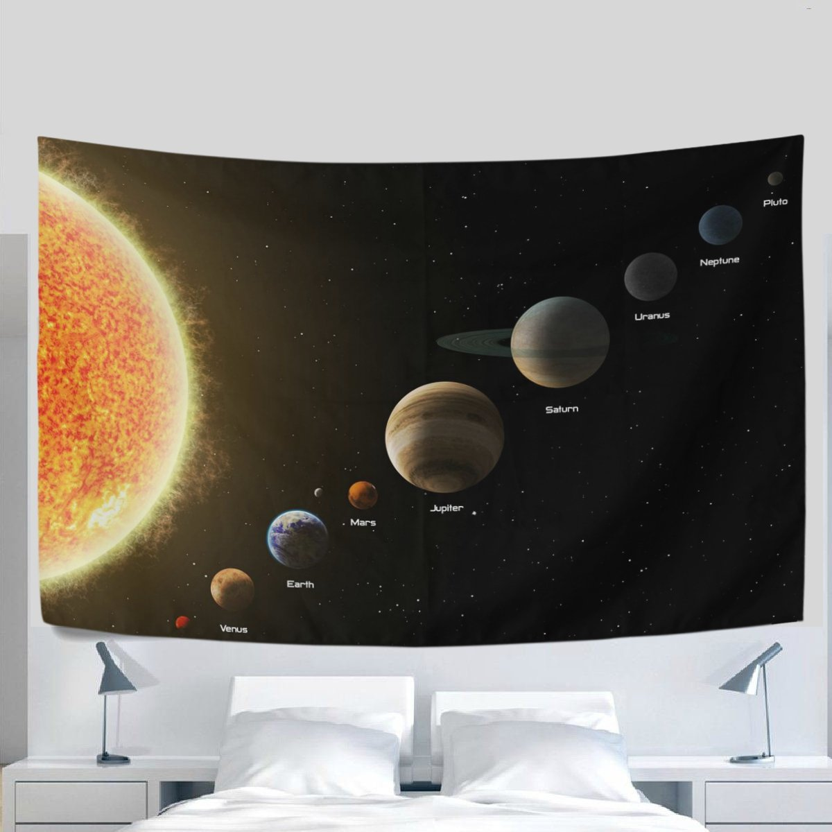 Home Decor Solar System Tapestries Hanging Bedroom Living Room Decorations Polyester Tapestry Wall Art 80X60 Inches