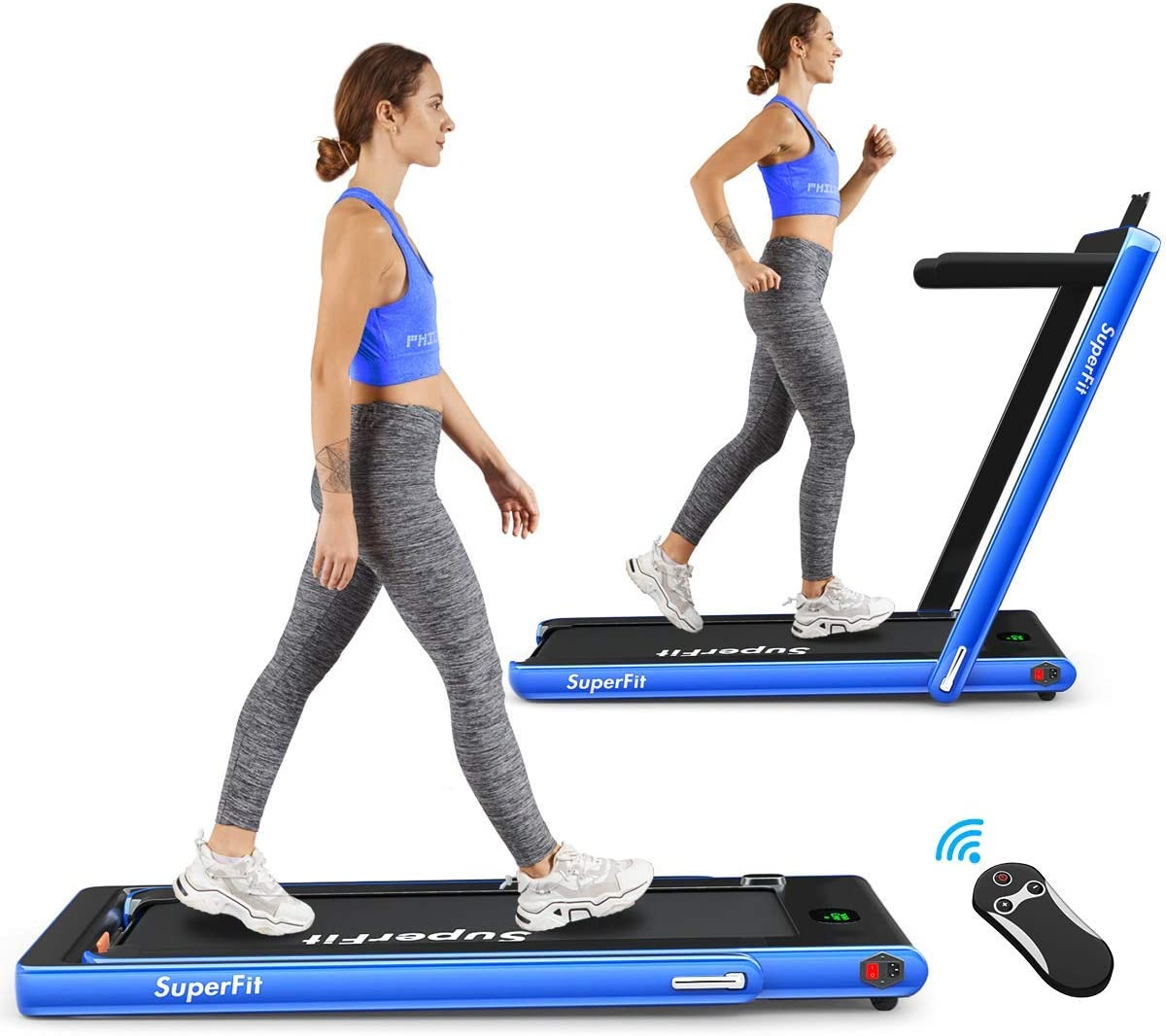 Goplus 2 in 1 Folding Treadmill, 2.25HP Under Desk Electric Treadmill, Installation-Free, with Bluetooth Speaker, Remote Control and LED Display, Walking Jogging Machine for Home Office Use