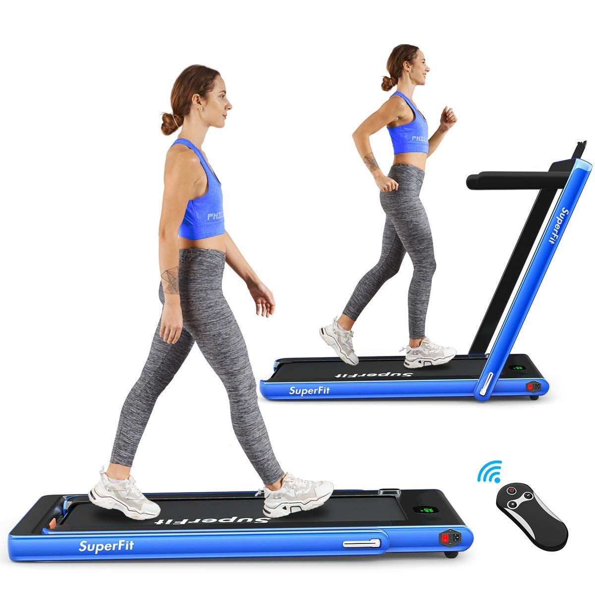 Goplus 2 in 1 Folding Treadmill, 2.25HP Superfit Under Desk Electric Treadmill, Installation-Free with Blue Tooth…