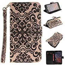 "Zenfone 2 5.5"" Case,Gift_Source[Kickstand][Card Slots]Premium PU Leather Magnetic Wallet Folio Flip Case Stand Cover wiht Wrist Strap for ASUS zenfone 2 5.5 inch ZE550ML/ZE551ML [Black Flowers]"