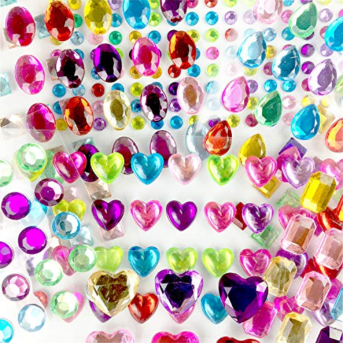 Halovin Self-Adhesive Multicolor Flatback Rhinestone Sticker Gems, Assorted Bling Craft Jewels Crystal Stickers(386 Pieces)