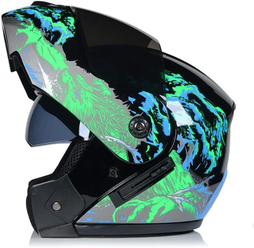 BUETR Casco de la motocicleta batería de doble lente del casco del automóvil montar a caballo con seguridad solar coche eléctrico casco completo-Green Hungry Wolf (lentes marrones) _XL