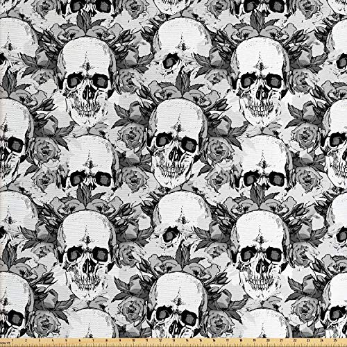 Lunarable Day of The Dead Fabric by The Yard, Skull Skeleton Pattern Print with Dia de Los Muertos Festive Theme, Decorative Fabric for Upholstery and Home Accents, 2 Yards, Grey and White ()