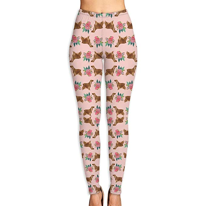 Deglogse Yoga Pants,Workout Leggings,Cocker Spaniel Floral ...