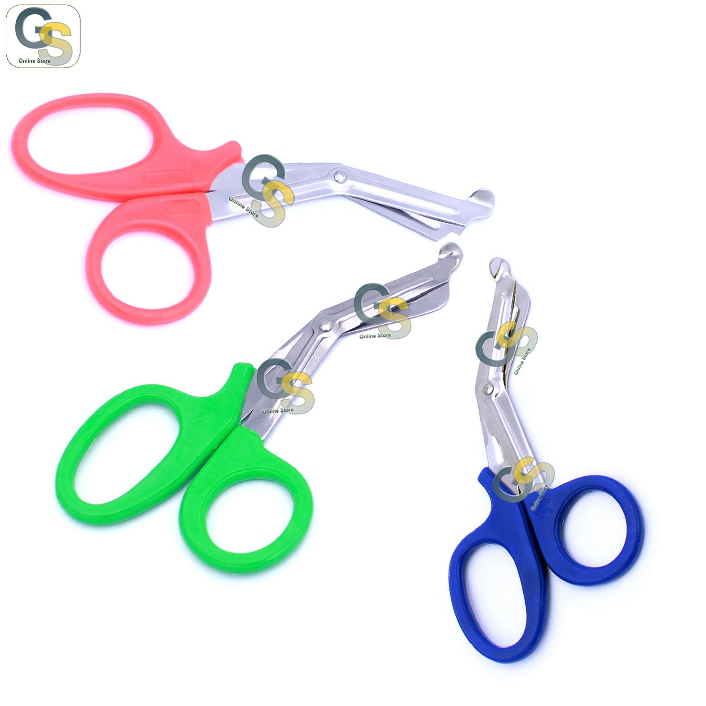 G.S 3 PCS (PINK & GREEN & BLUE) PARAMEDIC UTILITY BANDAGE TRAUMA EMT EMS SHEARS SCISSORS 7.25 INCH STAINLESS STEEL
