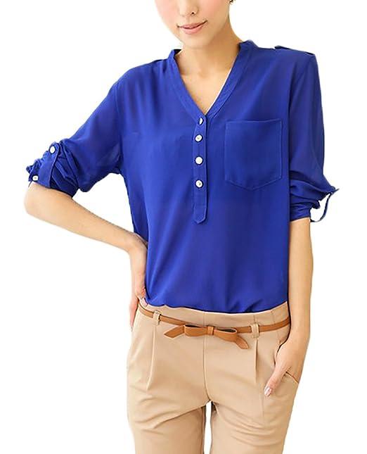 Camisas Mujer Elegante Primavera Verano V Cuello Manga Larga Basic Ropa Blusas Tops Delgado Color Sólido