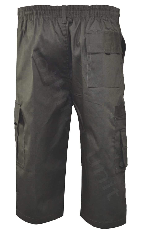 Mens Elasticated Waist Cargo Combat Plain Shorts 6 Pocket Zip Fly Small 8XL