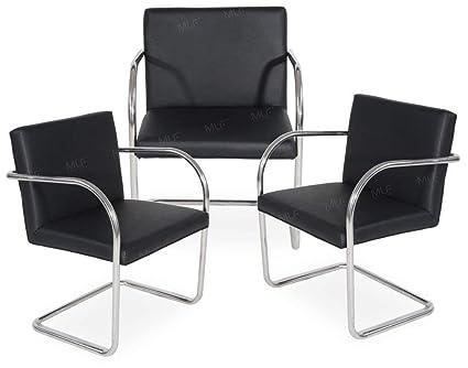MLF Brno Tubular Chair (4 Colors). Imported Black Italian Leather, Fire  Retardant