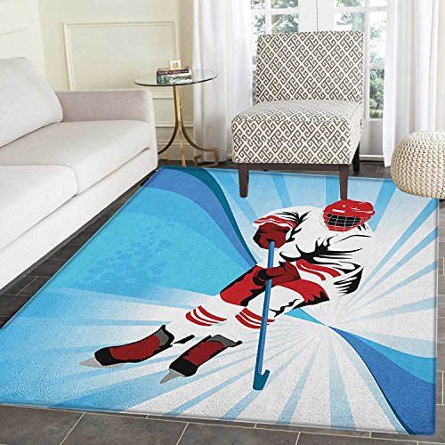 3' Drop Shot - Hockey Rugs for Bedroom Hockey Player Makes a Strong Shot on Goal Rival Illustration Abstract Backdrop Circle Rugs for Living Room 3'x5' Blue Red White
