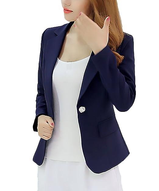 ad35e703e077 BoBoLily Donna Tailleur Elegante Manica Lunga Risvolto Slim Fit  Abbigliamento da Ufficio Business Blazer Chic Unique Giacca Jacket   Amazon.it  Abbigliamento