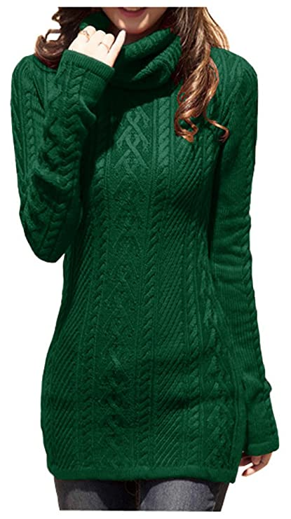 v28? Women Polo Neck Knit Stretchable Elasticity Long Sleeve Slim Sweater Jumper (US Size 0-4, Dark Green)