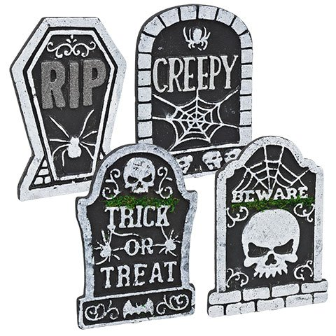 Polyfoam Halloween Tombstones Set of 4 - Tombstone Set