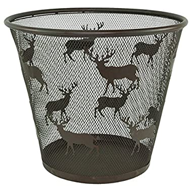 Deer w/ Antlers Metal Mesh Wire Wastebasket - Dark Brown Finish