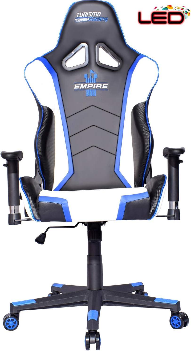 Turismo Racing Chaise de jeu vid/éo Led de la s/érie Empire avec syst/ème de mousse /à double m/émoire pour un confort optimal dans les jeux