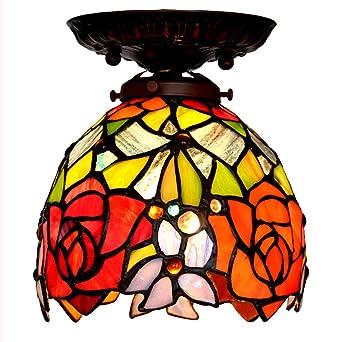Luz de techo estilo Tiffany, lámpara de techo de 7 pulgadas ...