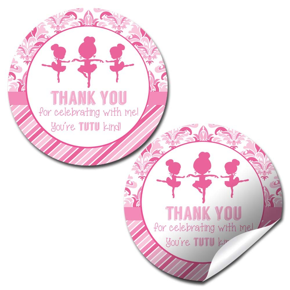 Dance & Twirl Pink Ballerina Thank You Birthday Party Sticker Labels, 20 2'' Party Circle Stickers by AmandaCreation, Great for Party Favors, Envelope Seals & Goodie Bags