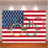International Olympic Rings Photography Background Flag Olympic Sport Photo Backdrops Countries for Classroom Garden Grand Op