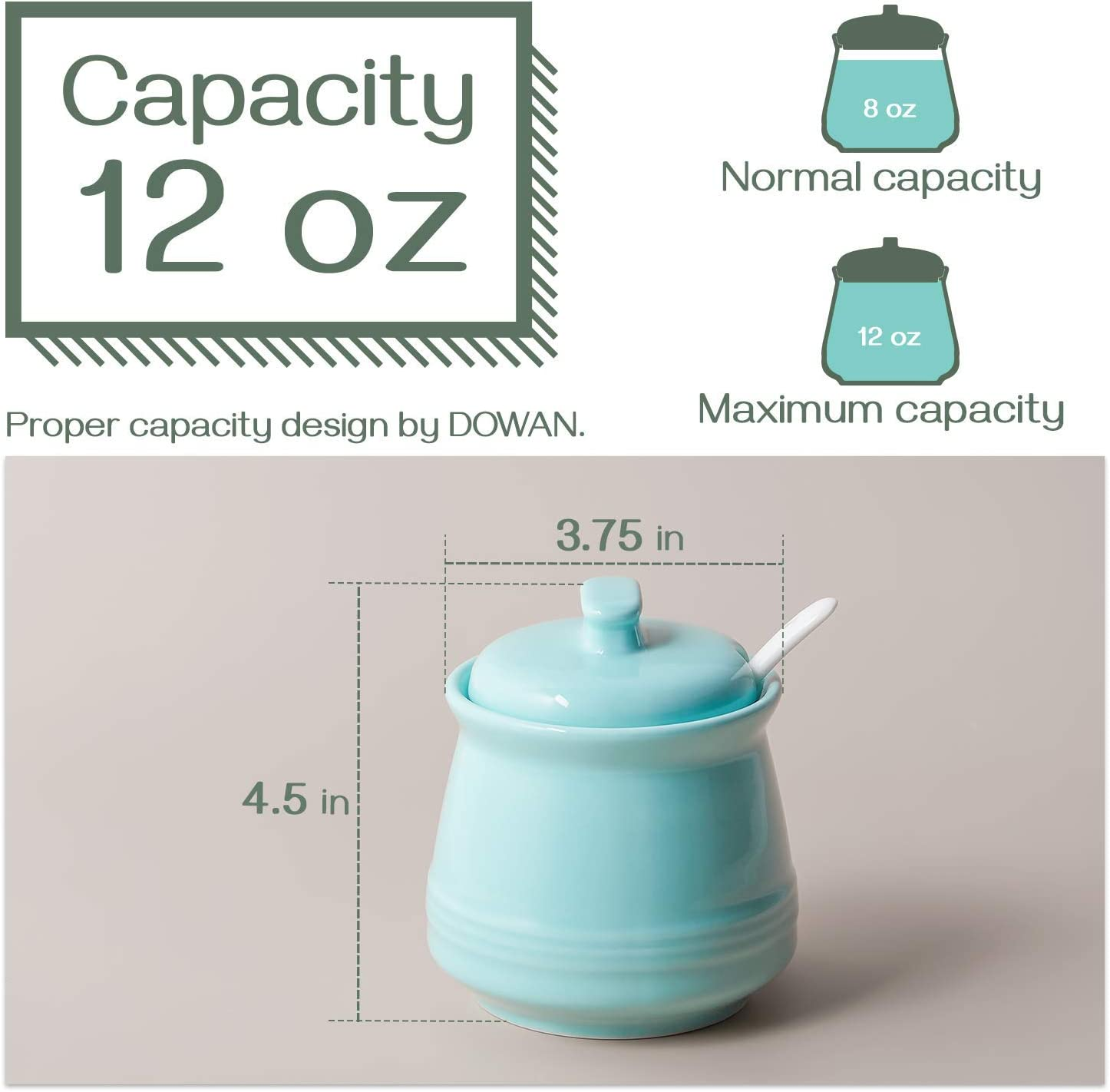 Turquoise 12 Ou Restaurant Sugar Bowl with Spoon and Lid 12 Ounce Ceramic Sugar Bowl with Lid Suit for Coffee Bar Product Image DOWAN Porcelain Sugar Bowl Coffee Bar Accessories Sugar Canister
