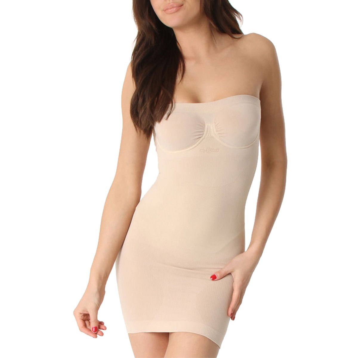 N Fini 523 Strapless Slip Dress Shaper with Built-in Bra, 2X & 3X - Nude 523XN