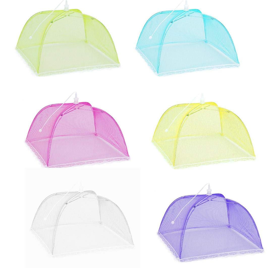 SUJING 6PCS Pop-Up Mesh Screen Food Cover Tents,Collapsible and Reusable Outdoor Picnic Food Net Tent Umbrella, Food Cover Net Keep Out Flies, Bugs, Mosquitoes (B)