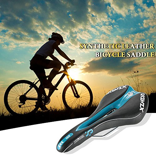 HeavenSense PVC Artificial Leather Bicycle Saddle Breathable Mountain Bike Saddle Road Bicycle Seat Cushion Pad with Scale