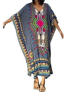 Gladiolus Mujeres Boho Maxi Vestido Largo De Playa Impreso De Kaftan Cover Up