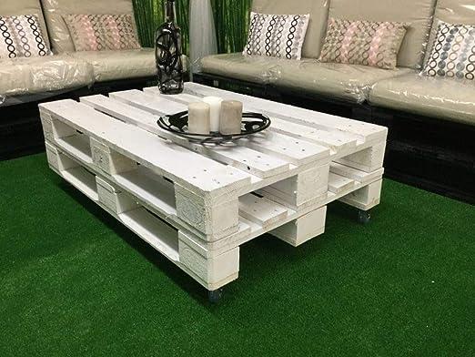Mesa de Palets Pintada en Color Blanco - Mesitas & Mesas Modernas de Centro & Auxiliares de Madera de Pales - Muebles De Palet para Salon & Jardin & Patio & Terraza:
