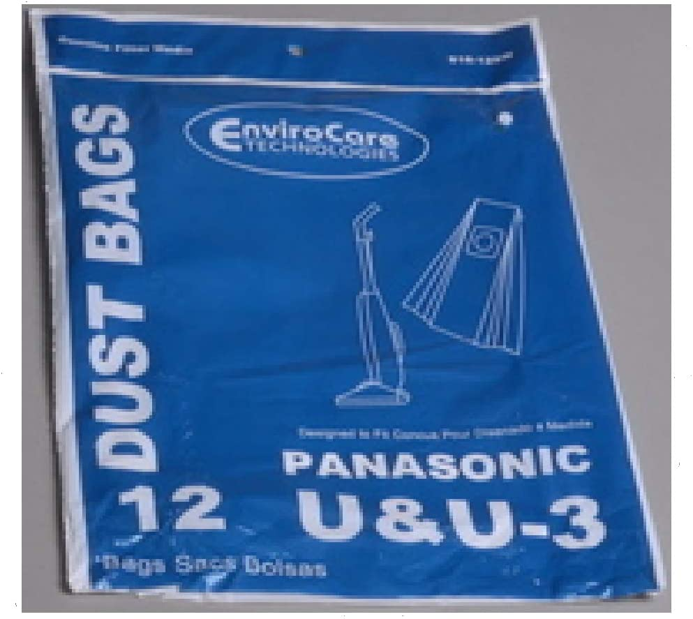 EnviroCare Replacement Vacuum Cleaner Dust Bags Made to fit Panasonic Type U / U3 Uprights. 12 Pack