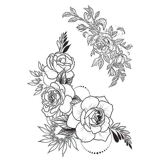 3 unids Moda Tatuaje Femenino Pegatina Rosa Negra diseño Completo ...