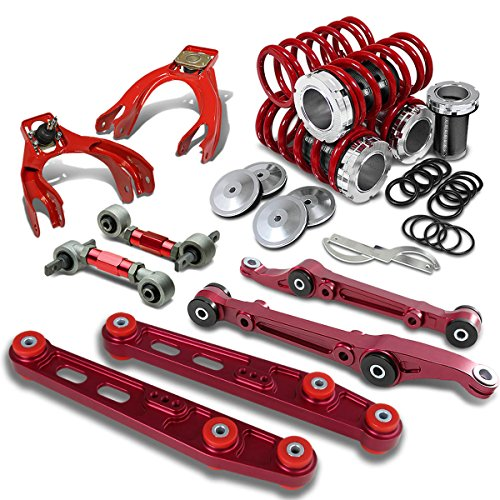 Civic/Del Sol/Integra Coilover+Camber Arm Kit+Lower Control Bar Set (Red) - EG EH DC