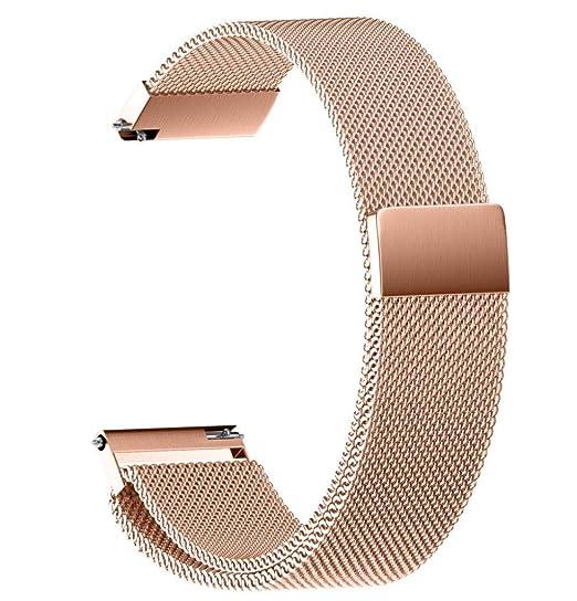 JiaMeng Cintas magnéticas milanesas Pulsera Ligera de Acero Inoxidable de Moda Correa la Correa de Reloj del Lazo 22/20/18/16 / 14MM: Amazon.es: Ropa y ...