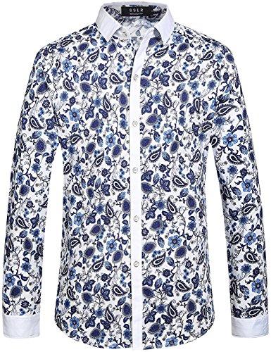SSLR Men's Vintage Printed Long Sleeve Shirt (Large, White Blue)